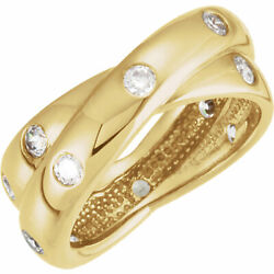 14 Kt Yellow Gold And Gypsy Set Bypass Diamond Thick Wide Cigar Band Ring...new