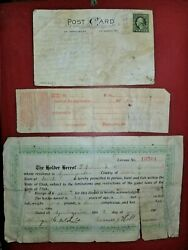 1907 Utah State 1st Ever Hunting License First Year Of Issue W Laws On Back More