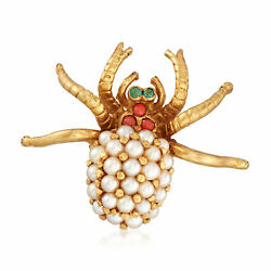 Vintage Cultured Pearl & Multi-Stone Spider Pin in 18kt Gold