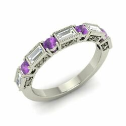 0.89 Carat Natural Amethyst And Vs Diamond Wedding Band Ring In 14k White Gold