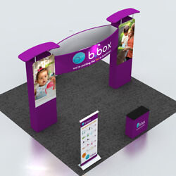 20ft Custom Trade Show Display Booth Kits With Counter Light Roll Up Banner