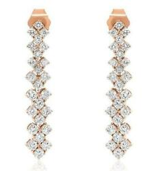 Wide 1.37ct Diamond 18kt Rose Gold 3d 3 Row Round Flexible Fun Hanging Earrings