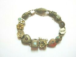 ANTIQUE GOLD FILLED SLIDE BRACELET WITH 14 SLIDES AND GEMSTONES