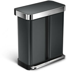 Step-On Trash Can Recycling Bin Dual Compartment Rectangular Stainless Black