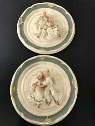 Vtg German Victorian Edwardian Ceramic Wall Plaques Green French Style C4
