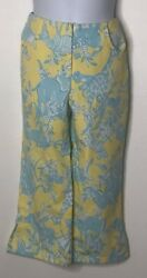 Lilly Pulitzer Girls Yellow Blue Animal Jungle Exotic Capri Cropped Pants Sz 8