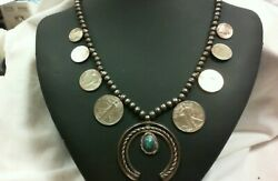 Vintage Coin Silver Squash Blossom Turquoise Necklace 26 Navajo Old Pawn