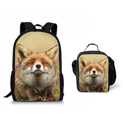 Lovely Fox Print School Bag Set 17quot; Backpack with Lunch Bag Cooler Totes For Kid $31.99