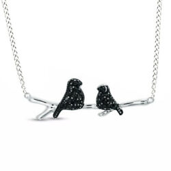 1/8 Ct Round Cut Black Real Diamond Love Birds Necklace In Sterling Silver