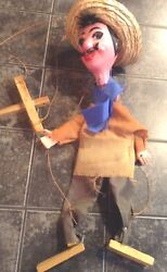 Vintage Hand Made Paper Mache Mexico Marionette Puppet On Strings, Works Great