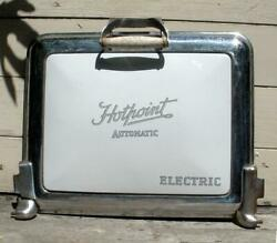 Antique Hotpoint Electric Chrome Iron And Porcelain Vintage Stove Oven Door
