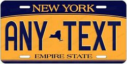 New York License Plate Novelty Bandg Style Personalized W/ Any Text For Auto Atv