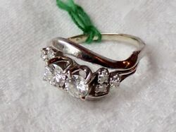 Vintage Estate 14k Carat White Gold And Queen Cut Diamond Ring. Size 6.25.