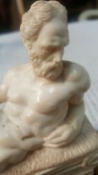 Greek Roman classic antique statue in Vintage composite on marble base