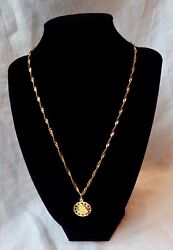 14k Solid Gold Chain. Virgin Mary Pendant. 20 6 Grams Chain/necklace. Twisted