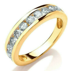 9ct Hallmarked Yellow Gold 0.75 Cts G/h Si Certified Diamond Half Eternity Ring