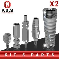 2x Dental Set Implant Spiral And St. Abutment And Transfer And Analog And Healing Cap