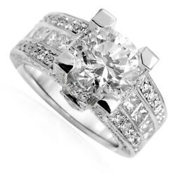 14k Solid White Gold Wide Pave Diamond And White Topaz Engagement Ring R1820