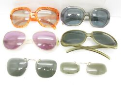 SET of 6 VINTAGE COOL RAY SUNGLASSES amp; POLAROID CLIP ONS oversized bulk lot S661 $116.99
