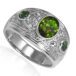 Men's 14k Solid White Gold Green Tourmaline Three-Stones Ring #R2008