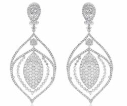 EXTRA LARGE 11.25CT DIAMOND 18KT WHITE GOLD 3D TEAR DROP LEAF HANGING EARRINGS