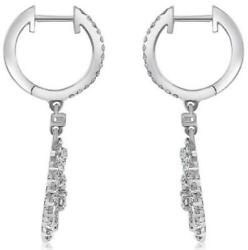 .88ct Diamond 18kt White Gold Oval Love Knot Circular Leverback Hanging Earrings