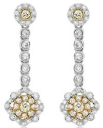 Estate 1.17ct Diamond 18kt 2 Tone Gold Cluster Flower Classic Hanging Earrings