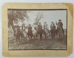 Cabinet card Billy the Kid? & small gang of men on horses gun outlaws W. Bonney