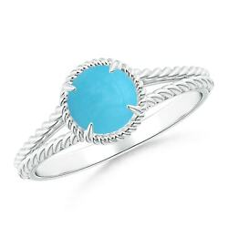0.69ctw Turquoise Twist Rope Split Shank Ring In Silver/gold/platinum