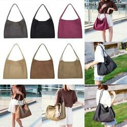 Girls Solid Color Shoulder Handbags Women Large Top handle Bags Canvas Totes $15.42