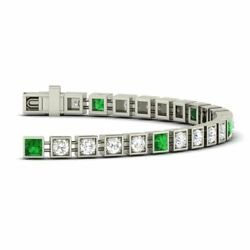 Certified 1.71 Cttw Emerald And Diamond Tennis 7 Bracelet In 10k White Gold