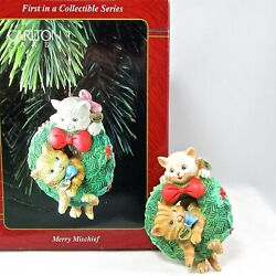 1996 Carlton Cards Merry Mischief Makers Ornament 1st Cats In Wreath First 1