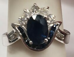 14k White Gold 1.5ct Saphire Ring With .25 Ct. Diamond Accents Sz 6.5