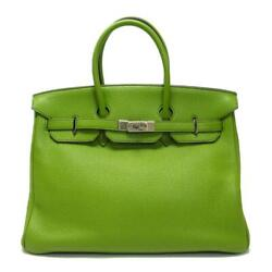 Authentic HERMES Birkin 35 Tote Handbag Anis Green Togo Leather Silver Hardware