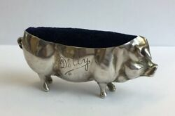 Antique 1903 Levi And Salaman Solid Silver Cased Pig Pin Cushion Andldquodollyandrdquo A/f