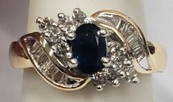 14k Gold 1.9g Midnight Saphire And Diamond .50ct Ring Size 7