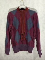 Guccio Vintage 70s Argyle Suede Leather Tassel Mohair Sweater 46 Italy