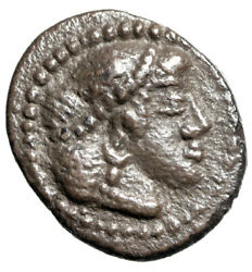 Sicily Syracuse Ar Litra Head Of Arethusa And Ethnic In Wheel Rare Toned