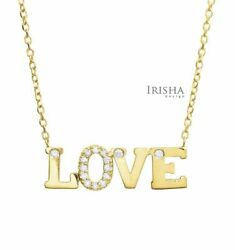 0.10 Ct. Real Diamond Love Charm Pendant-necklace In 14k Gold Fine Jewelry
