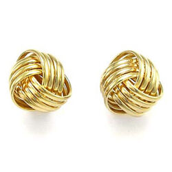 14k Solid Yellow Gold Love Knot Studs 13mm Earrings E736