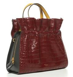 Mulberry Lynton Croc-embossed Antique Ruby Navy Leather Tote Bag Handbag New