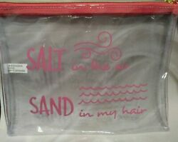 quot;SALT in the air SAND in my hairquot; Zip Top Clear Cosmetic Vinyl Makeup Bag $6.85