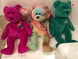 Millennium, Peace, And Erin Ty Beanie Babys Rare With Errors