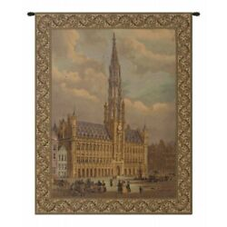 Town Hall of Brussels Medieval Scene Belgium Woven Tapestry Wall Hanging