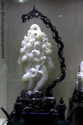China Amazing White Jade carving Auspicious flowers Palace FengShui Statue
