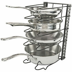 Pot and Pan Rack Vertical Holder for Storage Metal Kitchen Cookware Accessory