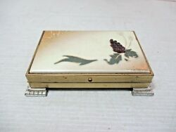Vtg Tabletop Footed Cigarette Case Box Gold Metal / Silver Feet Grapes And Leaves