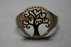 14k Solid Yellow Gold Beautiful Tree Of Life With Cz Ring. Size 7.5