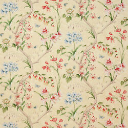 Colefax And Fowler English Garden Floral Linen Fabric 10 Yards Yellow Multi