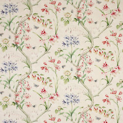 Colefax And Fowler English Garden Floral Linen Fabric 10 Yards Cream Multi